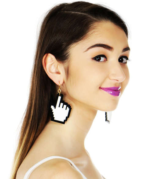 Tech-Inspired 8-Bit Accessories - These Hand Cursor Earrings Make a Pixelated Style Statement