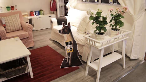 Animal Adoption Advertising - Ikea Promotes Dog Adoption With Cut-Out Displays in Store Showrooms