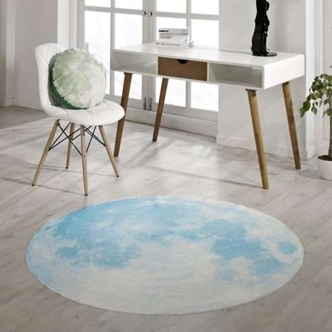Circular Celestial Carpets - This Surreal Lunar Blue Rug Will Have You Dancing on The Moon