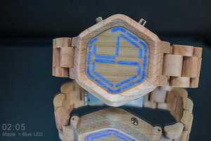 This Tokyoflash Kisai Night Vision Watch Version is Made of Wood