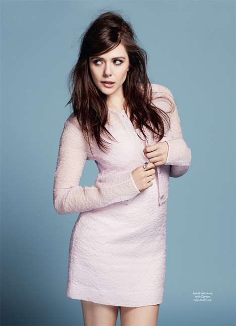 Flirty Pastel Celeb Fashion - The Marie Claire UK Cover Shoot Stars Elizabeth Olsen