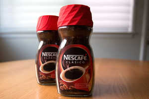 The Nescafe Alarm Cap is a 3D Printed Jar Lid and Functioning Alarm Clock