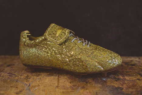 Gilded Soccer Cleats - Alexander McQueen Developed Ultra Luxurious Editions of the PUMA King