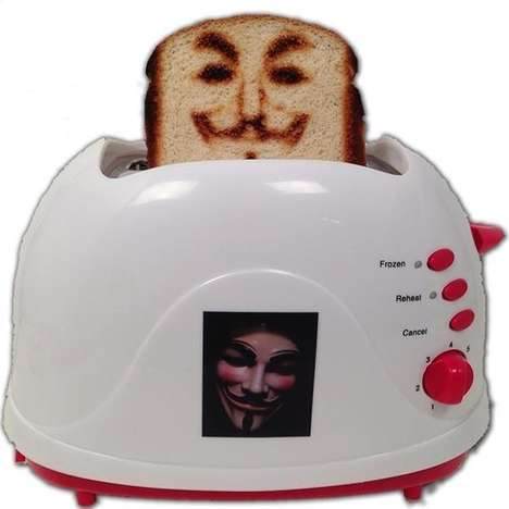 Freedom Fighter Toasters - The Anonymous Toaster Features the Guy Fawkes Logo from V for Vendetta