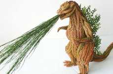 Leafy Monster Sculptures - Li Yi-kai's Godzilla Monster is Made from Leaves and Plants