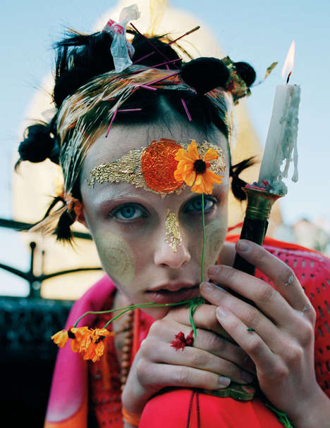Burma-Inspired Fashion Editorials - The W Magazine 'Gilt Trip' Photoshoot Stars Edie Campbell