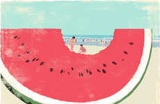Whimsical Book Worm Illustrations - Tatsuro Kiuchi Creates Mischievous Drawings for 'Book Travelers'