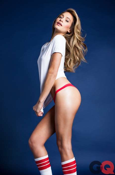 Sultry White Tee Editorials - The GQ Magazine May 2014 Photoshoot Stars a Scantily-Clad Hannah Davis