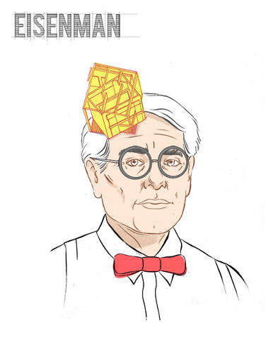 Architectural Headdress Portraits - Paul Tuller Draws Famous Architects Wearing Their Work