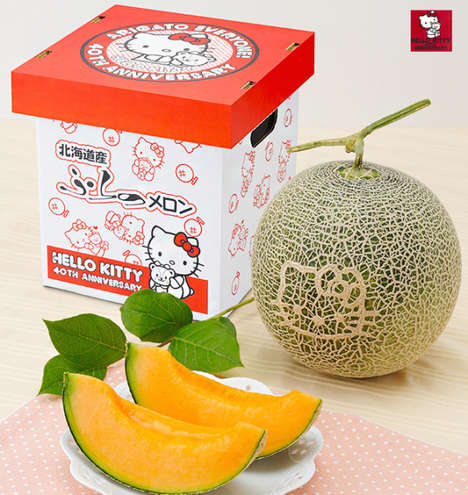 Fresh Cartoon-Adorned Fruit - This Hello Kitty Melon Can be Yours at an Overpriced Rate