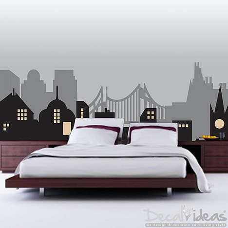 Gothic Cityscape Decals - This Wall Decal Celebrates Gotham City and the Latest Batman Ben Affleck