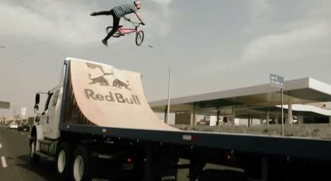 Vehicular BMX Ramp Stunts - This Red Bull Stunt Had Daniel Dhers Perform Tricks on a Moving Truck