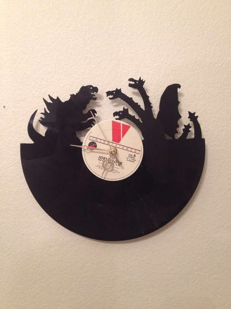Mutant Vinyl Clocks - This Vinyl Record Was Upcycled into a Stylish Godzilla 2014 Movie Clock