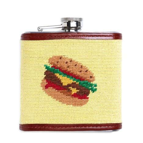 All-American Alcoholic Containers - This Yellow Needlepoint Flask is About Burgers, Beers and Booze