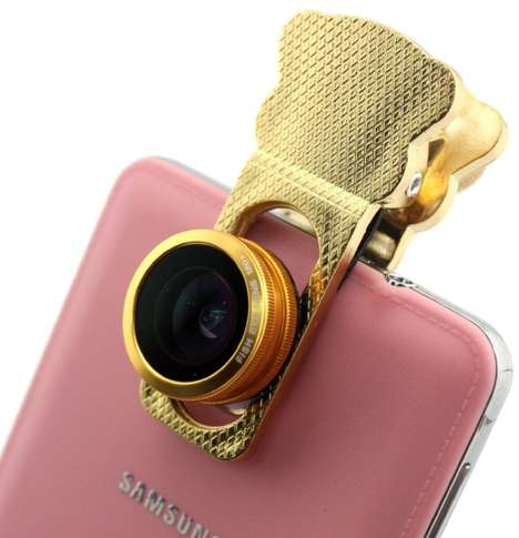 Smartphone Camera Clamps - This Golden Clamp Camera Lens Provides Four Lenses in One Accessory
