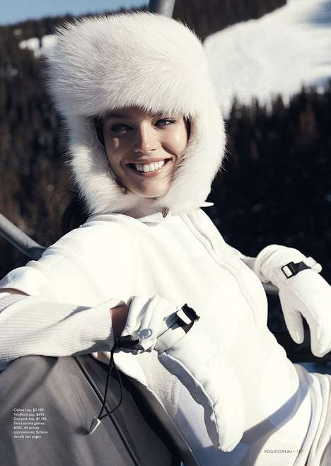 Glam Ski Bunny Editorials - The Vogue Australia Photoshoot Stars Emily DiDonato