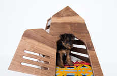 Woodworked Pet Abodes - These For Gimli Modern Dog Dens are Made Using Natural Walnut Materials