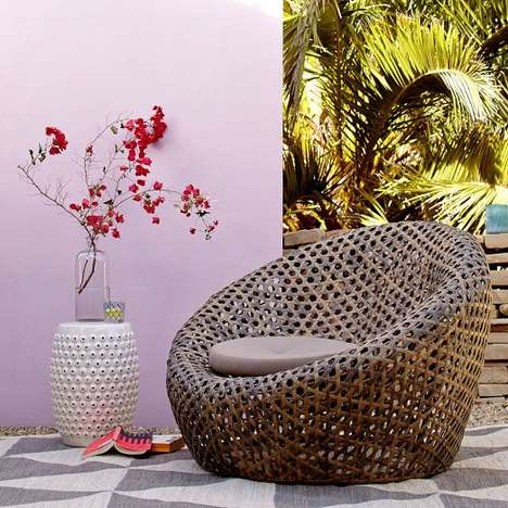 Cocooned Basket Weave Seating - The Montauk Nest Chair from West Elm Fuses Rustic and Modern Details
