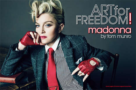 Androgynous Songstress Editorials - Songstress Madonna Poses for L'Uomo Vogue