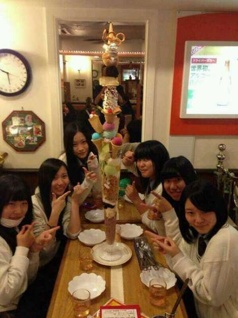 Towering Ice Cream Creations - The Nagasaki Dream Tower Dish from Cafe Olympic is Impressive