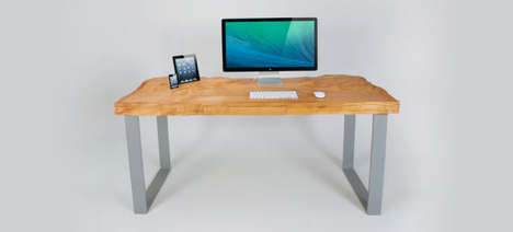 Naturalistic Work Desks - Tom Schuster's Desk Design Has a Rocky Surface That Holds Tech Gadgets