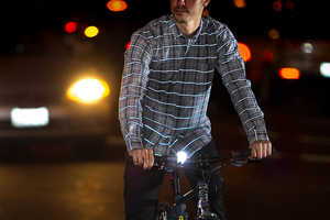 The Betabrand Reflective Plaid Button-Down is Ideal for Biking at Night