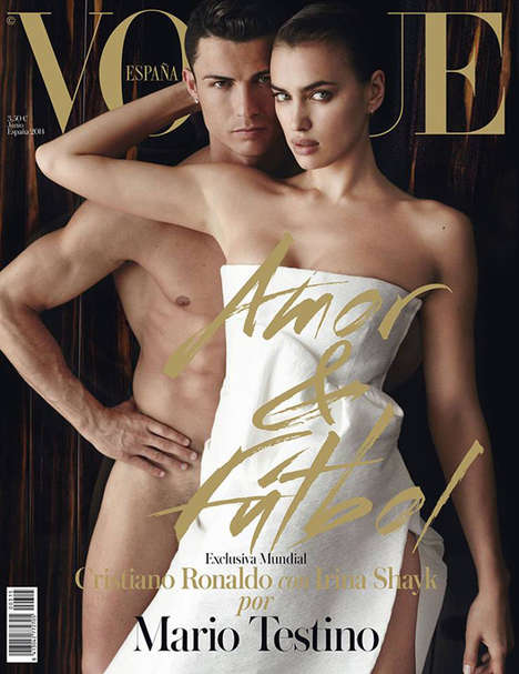Risque Soccer Star Editorials - Vogue Spain June 2014 Features Cristiano Ronaldo with His Girlfriend