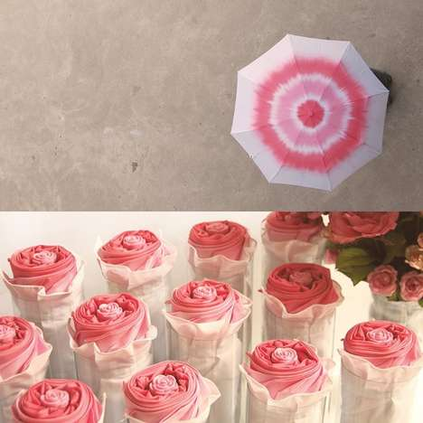 Folded Floral Umbrellas - This Spiral Patterned Rose Umbrella Folds Up to Unveil a Flowery Design