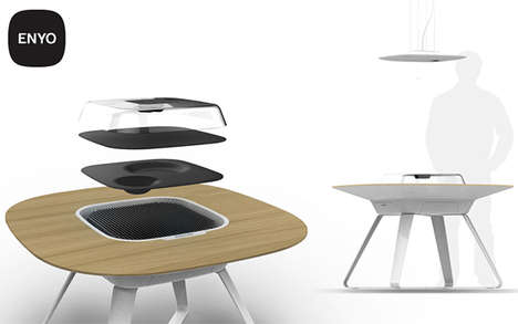Built-In Stove Dining Tables - ENYO by Aaron Wansch Turns Cooking into a Social Event