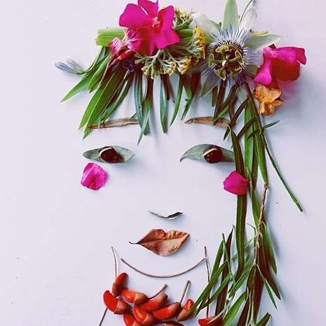Floral Face Recreations - Justina Blakeney Creates Botanical Beauties Using Leaves and Flowers