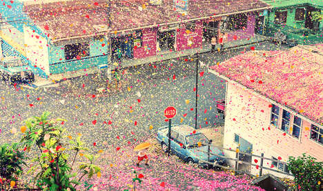 Flower-Covered Village Ads - Sony