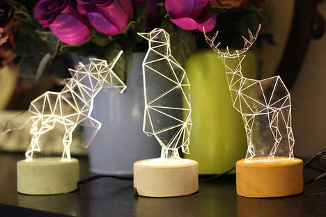 Geometric Animal Lights - Amit Sturlesi Created Modern and Animalistic Decorative Table Lamp Designs