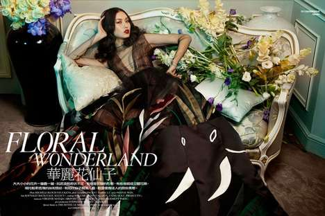 Floral Couture Editorials - Ling Yue Stars in the Elle Hong Kong May 2014 Issue