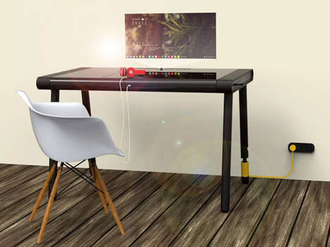Laptop-Integrated Desks - Designer Nithin V Antony's C-Walker Fuses a PC Computer into a Desk
