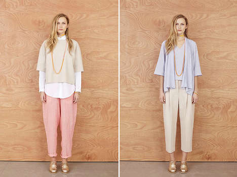 Tomboyish Bohemian Lookbooks - The Karen Walker Winter 2014 Collection is Charming and Simple