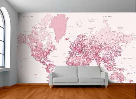 Rosy Map Murals - This Pink Colored World Map Wall Mural is the Perfect Decor for Travel Lovers