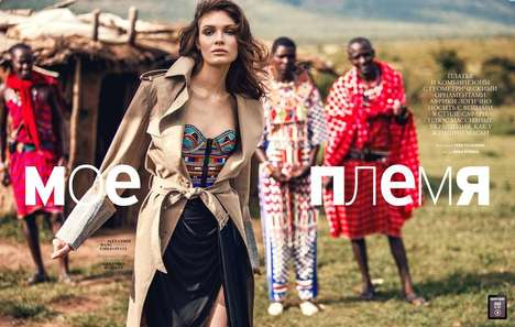 Sophisticated Tribal Editorials - The Marie Claire Russia Issue Stars Alexandra Martynova