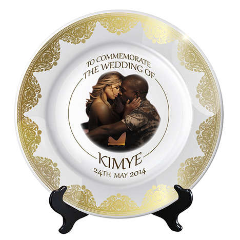 Opulent Celeb Wedding Plates - MTV Style Mocked Up Plates in Honor of the Kim and Kanye Wedding