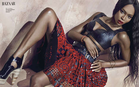 Reptilian Supermodel Editorials - The Harper's Bazaar Vietnam Shoot Features Naomi Campbel