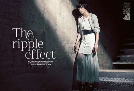 Pleated Fashion Editorials - Stylist Magazine 'The Ripple Effect' Photoshoot Stars Zen Sevastyanova