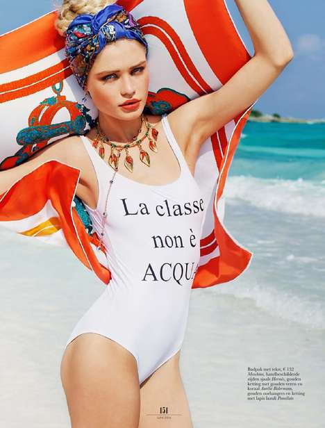 Parisian Swimwear Editorials - This Elle Netherlands June 2014 Issue is Full of Steamy Bikinis