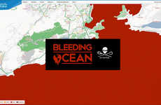 Bloodied Online Maps - Sea Shepherd Altered an Online Map to Bring Awareness to Shark Finning