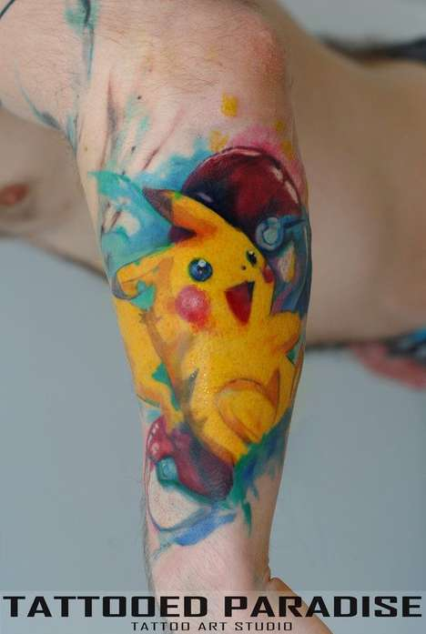 Cartoonish Watercolor Tattoos - Tattoo Artist Aleksandra Katsan Creates Adorably Artistic Body Art