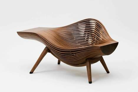 Wavy Wooden Furniture - Designer Bae Se Hwa Creates Stripped Seating and Desks