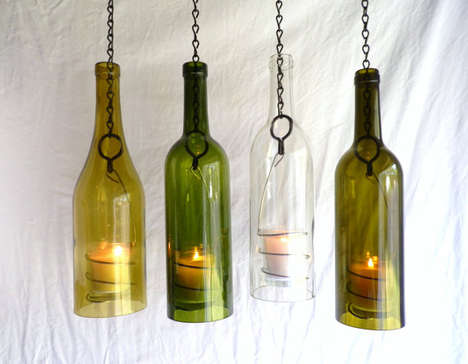 Upcycled Wine Bottle Decor - These Hurricane Lanterns from Etsy's BoMuLuTra Shop are Eco-Chic