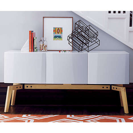 Origami-Inspired Storage Shelves - The Alba Credenza from CB2 Features Subtly Folded Elements