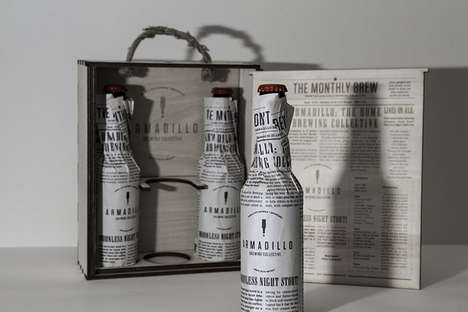 Newspaper Beer Branding - Armadillo Brewery by Havard Fadnes Uses a Recycled Look