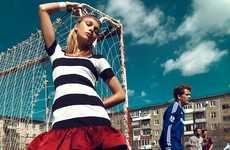 Flirty Football Editorials - Lys Inger Stars in a Football-Themed Stolnick Editorial