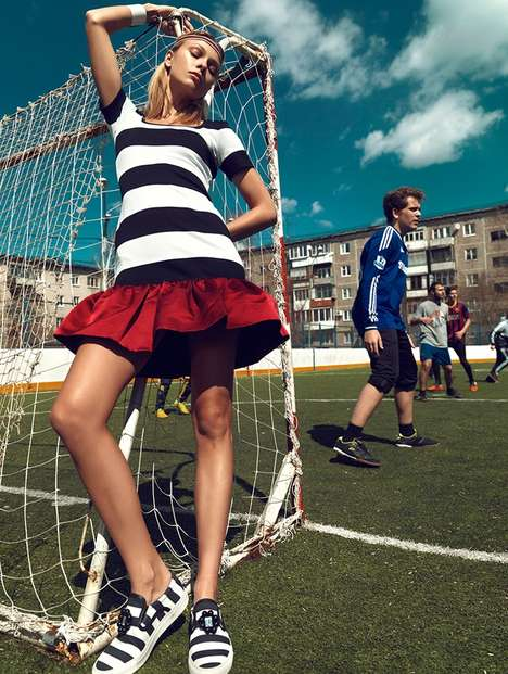 Flirty Football Editorials - Lys Inger Stars in a Football-Themed Stolnick June 2014 Editorial