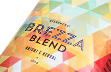 Kaleidoscopic Coffee Branding - The Starbucks Brezza Blend is Psychedelic for Summer